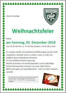 Weihnachtsfeier des VFL Hauptvereines @ VfL Landshut-Achdorf Vereinsheim